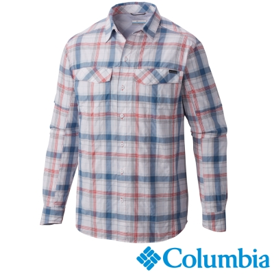 【Columbia哥倫比亞】男-快排防曬30長袖襯衫-粉紅 UAE74410PK