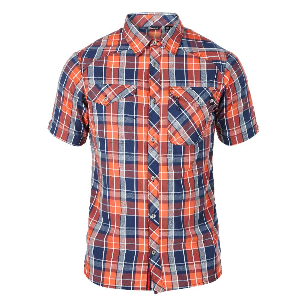【Berghaus 貝豪斯】男款銀離子除臭抗菌抗UV短袖襯衫S06M04-橘