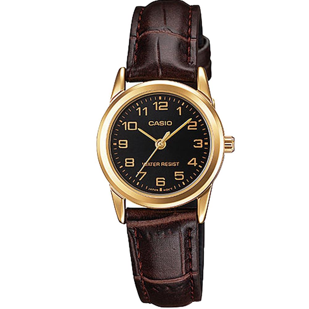 CASIO經典復古時尚簡約巧小指針皮帶腕錶-黑面X咖啡(LTP-V001GL)/25mm