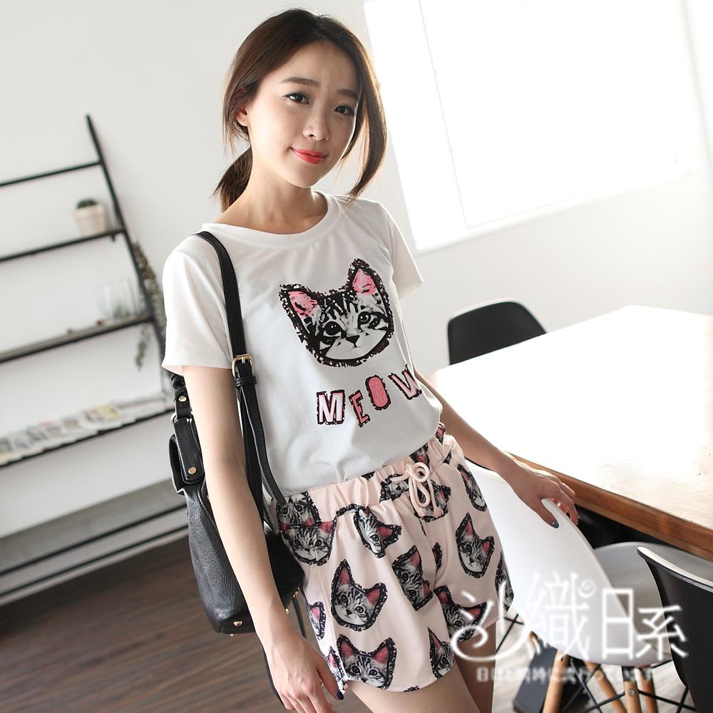 套裝 圓領貓咪圖案棉T+滿版貓咪綁帶短褲(粉)-沙織日系