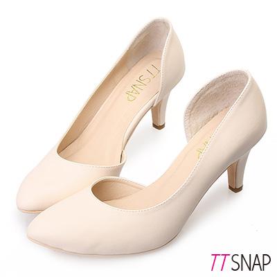 TTSNAP-高跟鞋-MIT側鏤空小尖頭真皮跟鞋