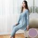 華歌爾 天絲棉針織 M-L 長袖圓領褲裝(紫)-睡眠研究所-家居服-舒適保暖-內襯罩杯 product thumbnail 1