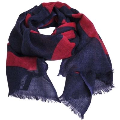 MOSCHINO 品牌字母大圖騰LOGO高質感薄羊毛披肩圍巾(藍色/紅字)