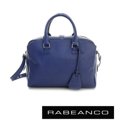 RABEANCO-迷時尚牛皮系列雙拉鍊多way包-藍