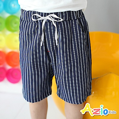 Azio Kids 短褲 雙線直紋綁帶造型口袋短褲(藍)