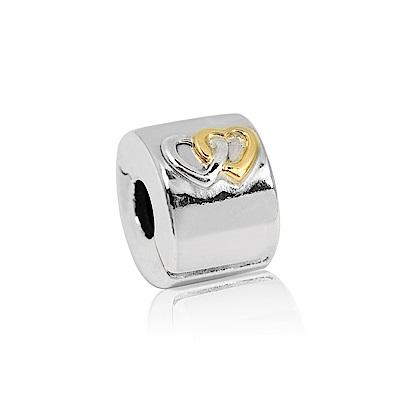 Pandora 潘朵拉 鍍14k金雙心 夾扣式純銀墜飾 串珠