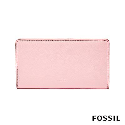 FOSSIL CAROLINE 真皮皮夾 中夾-櫻花粉