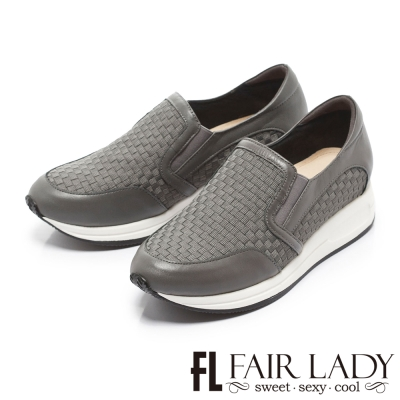 Fair Lady 潮流編織厚底懶人休閒鞋 灰