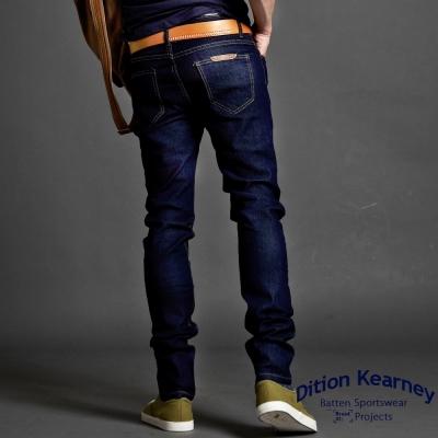 FASHION館-復古DENIM彈性原色藍牛仔長褲-偉士