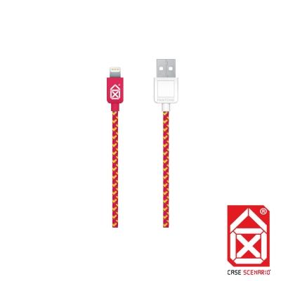 PANTONE Lightning to USB 編織傳輸線 MFi 認證 (紅)