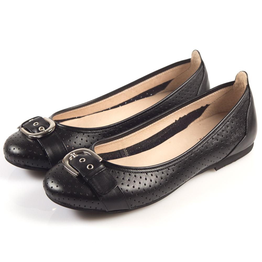 G.Ms. MIT系列-牛皮柔軟洞洞皮帶釦娃娃鞋-好感黑