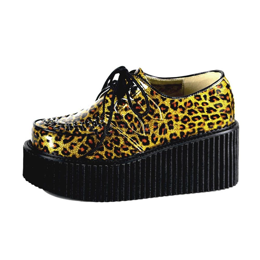 DEMONIA漆皮豹紋8公分龐克鞋-金