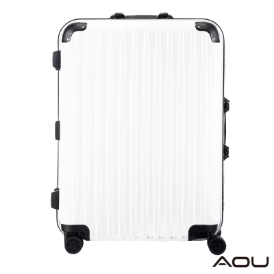 AOU 26吋 TSA鋁框鎖PC鏡面行李箱旅行箱 專利雙跑車輪(白)99-048B