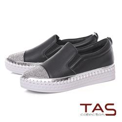 TAS 沖孔拼接燙鑽縫線厚底休閒鞋-注目黑