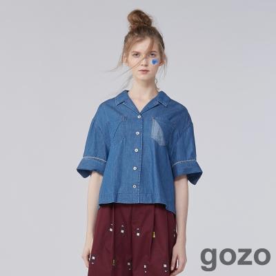 gozo短版拼接口袋寬版牛仔襯衫(二色)