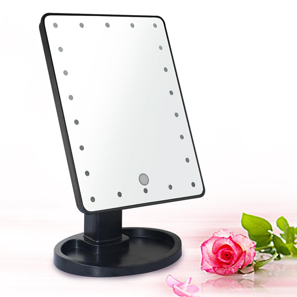 10吋超大22LED燈可翻轉觸控亮度化妝桌鏡-黑