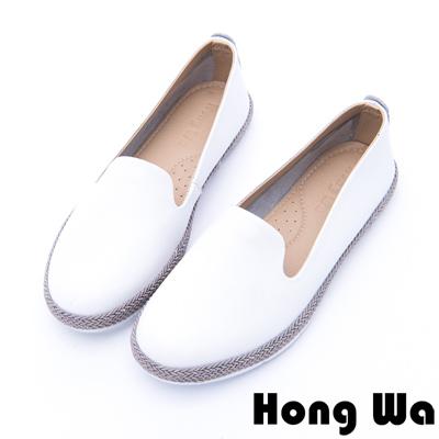 Hong Wa - 韓系素面設計牛皮刺繡草編懶人鞋 - 白