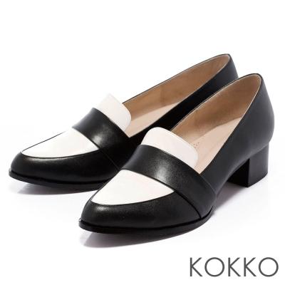 KOKKO-舒壓軟墊-經典尖頭粗跟紳士樂福鞋-黑白