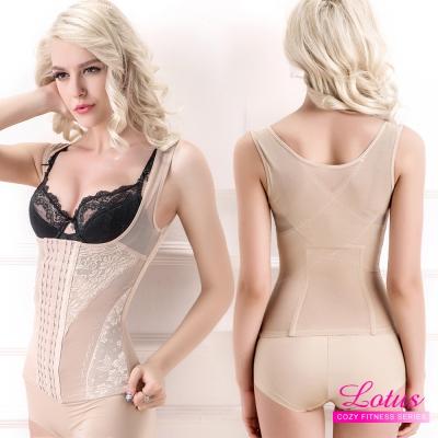 修飾衣 包覆集中排扣蕾絲背心半身修飾衣-膚(M-XL) LOTUS
