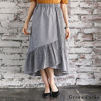 Green Parks 格紋拼接荷葉邊打褶裙