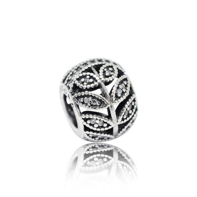 Pandora 潘朵拉 圓形鏤空葉子鋯石 純銀墜飾 串珠