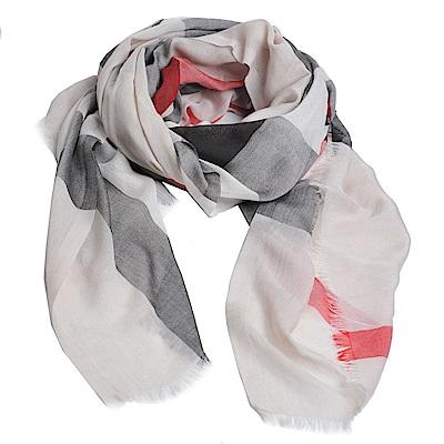BURBERRY 義大利製格紋輕盈格紋喀什米爾混木代爾絲綢圍巾(石色/200x90)