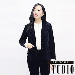 EPISODE Studio - 高質感絲絨翻領外套(黑)