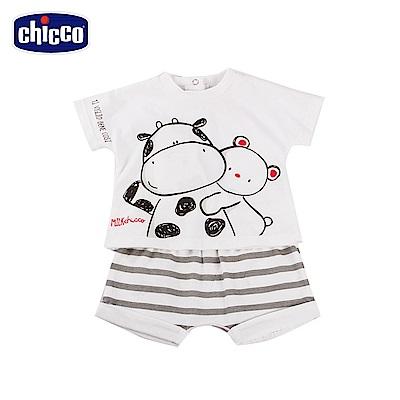 chicco-小乳牛-短袖套裝-灰白條(6-18個月)