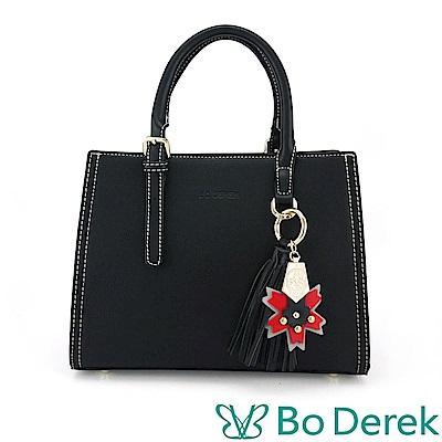 Bo Derek 楓葉徽章造型手提/斜背包-黑