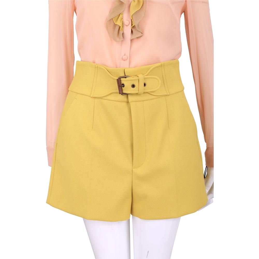 RED VALENTINO 黃色腰飾設計寬管短褲