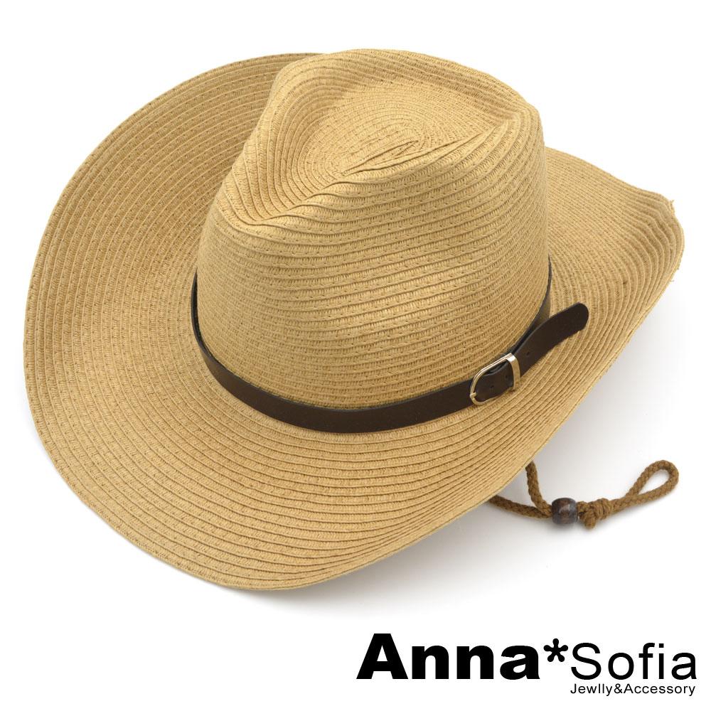 AnnaSofia 層層率性革帶 寬簷遮陽牛仔紳士帽爵士帽草帽(駝系)