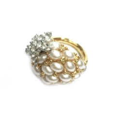 Kenneth Jay Lane 好萊塢巨星最愛 海星戒指 鑲K金白水晶 珍珠母貝琺瑯