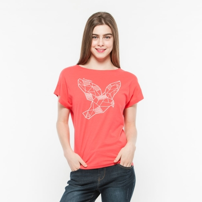 Hang Ten - 女裝 - 流行英文標語梯版T-Shirt- 粉