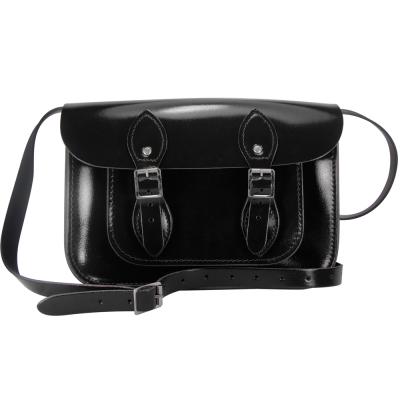 The Leather Satchel 英國手工牛皮劍橋包 肩背 側背包 搖滾黑 11吋