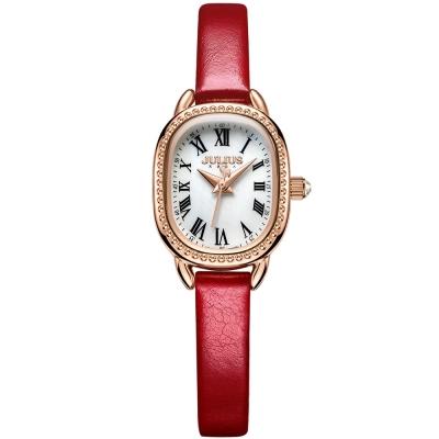 JULIUS聚利時 繁星圍繞復古設計皮帶錶-白x紅色/20.5X25mm