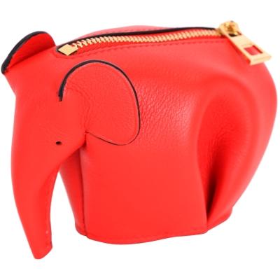 LOEWE Animales Elephant 立體大象造型拉鍊零錢包(亮紅色)