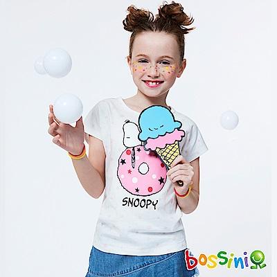 bossini女童-史努比系列印花短袖T恤02灰白