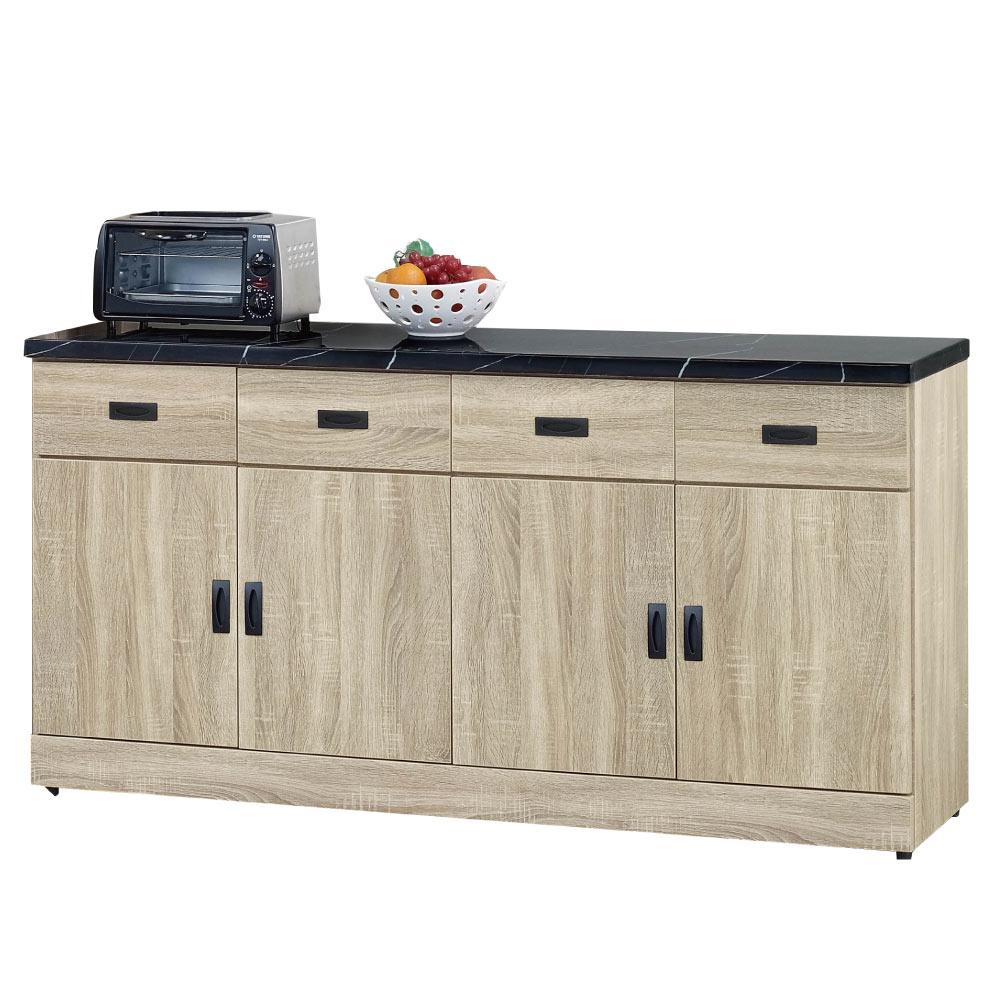 品家居 法路5.3尺橡木紋石面餐櫃-160.2x43x89.2cm免組