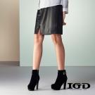 IGD英格麗 皮革剪接中長及膝窄裙鉛筆裙-黑色
