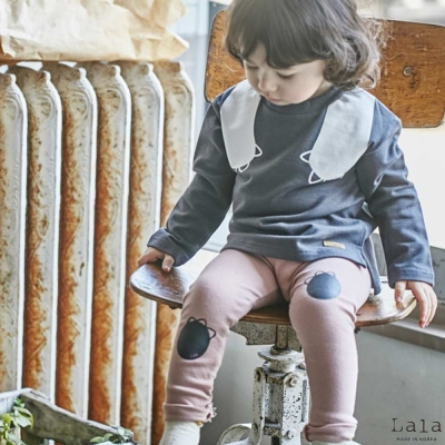 Lala韓國 粉紅熊掌內搭褲