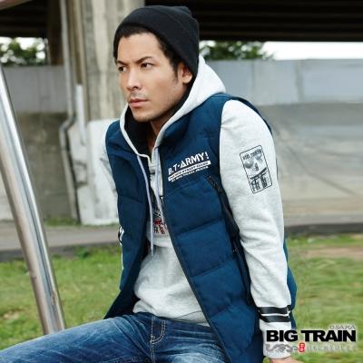 BIG TRAIN 日式潮流厚帽T-男-淺灰