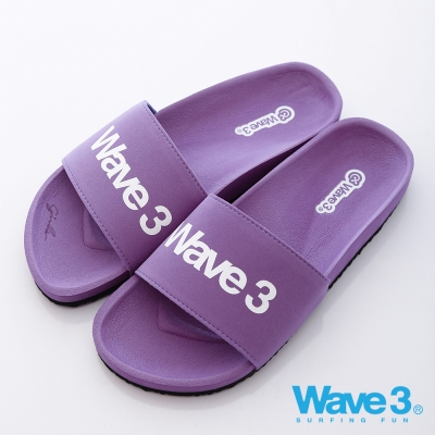 WAVE3【女】台灣製 女印刷LOGO運動休閒拖-馬卡粉紫