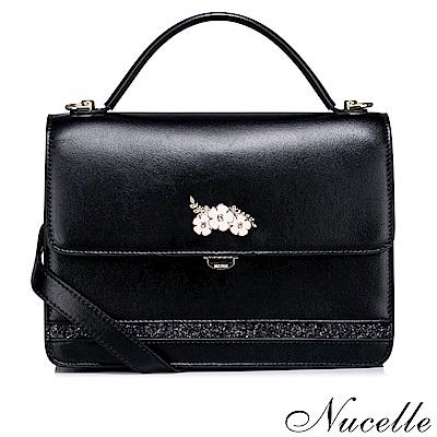 NUCELLE-簡約珠光花朵兩用包-璀璨黑