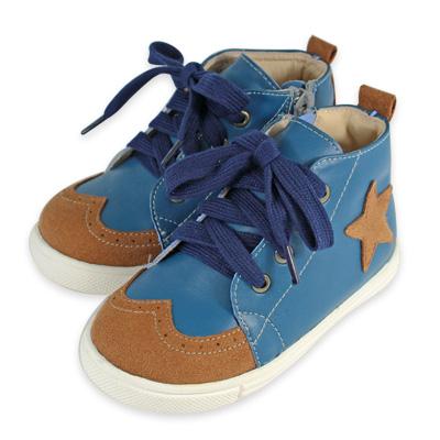 Swan天鵝童鞋-鞋頭雕花半高筒星星休閒鞋 3769-藍