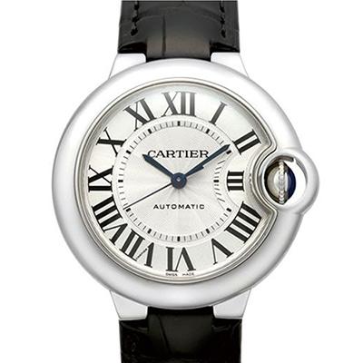 CARTIER 卡地亞 Ballon Bleu 經典羅馬時標機械腕錶-白x黑色錶/33mm