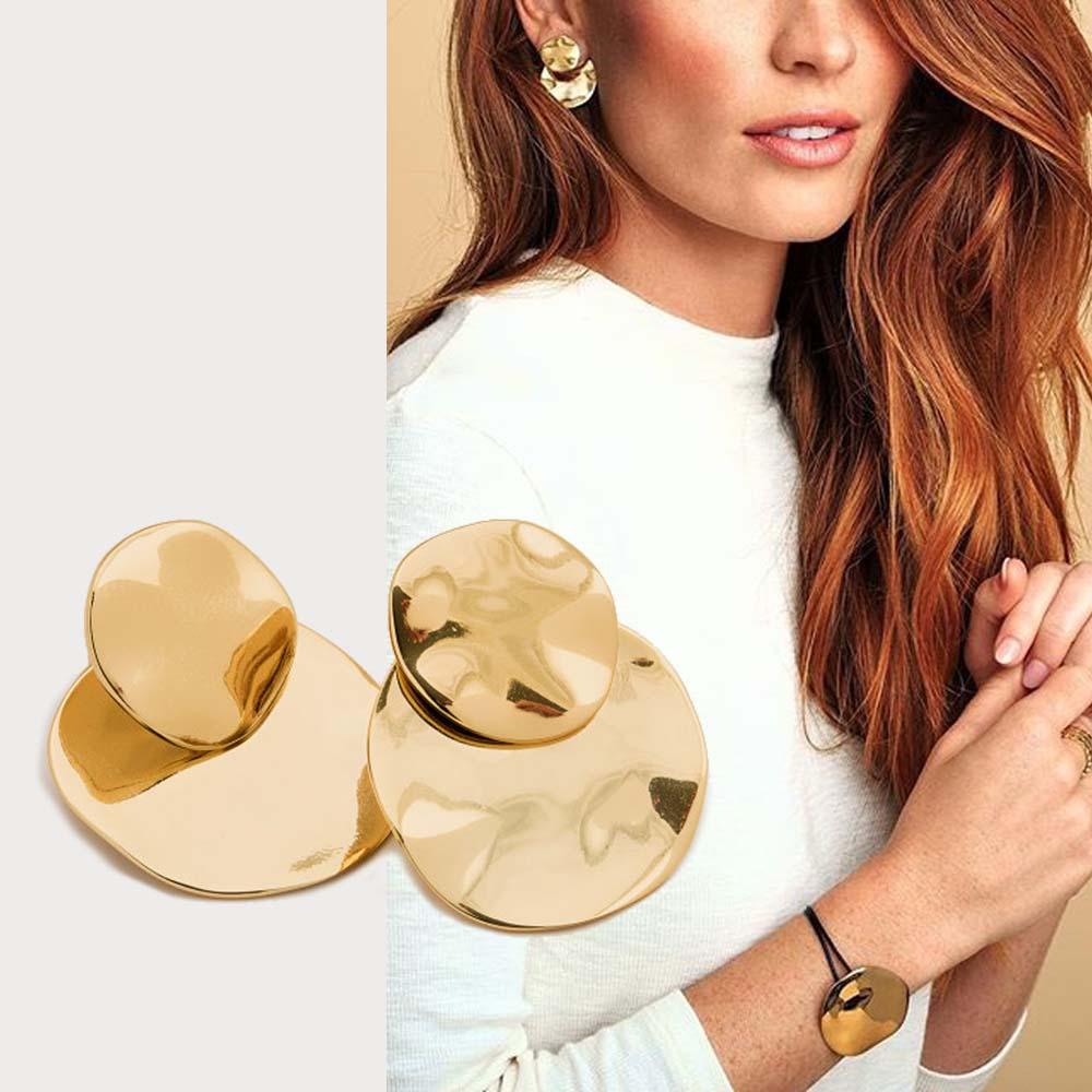 GORJANA 金色錢幣耳環 前後扣耳環 波浪紋設計 Chloe Ear Jacket