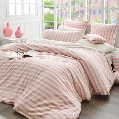 義大利La Belle 斯卡線曲 雙人四件式色坊針織被套床包組-甜粉