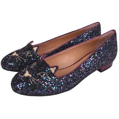 Charlotte Olympia Kitty 經典貓咪亮片樂福鞋(深紫色)