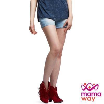 孕婦褲 牛仔褲 短褲 孕期經典水洗牛仔短褲(共二色) Mamaway