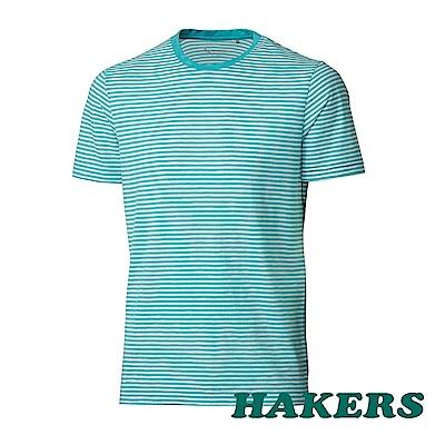 【HAKERS】男-抗UV條紋短袖衫-青瓷色